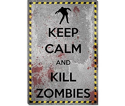 iCanvas Keep Calm and Kill Zombies Graphic Art on Canvas; 40'' H x 26'' W x 1.5'' D