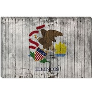 iCanvas Illinois Flag, w/ Grunge Graphic Art on Canvas; 12'' H x 18'' W x 1.5'' D