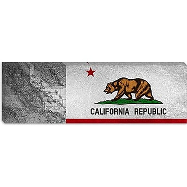 iCanvas Caifornia Flag, Grunge Panoramic Vintage Advertisement on Canvas; 12'' H x 36'' W x 1.5'' D