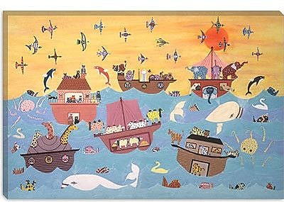 iCanvas 'Noah's Ark I' by David Sheskin Painting Print on Canvas; 12'' H x 18'' W x 1.5'' D