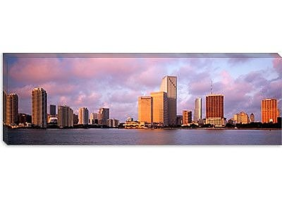 iCanvas Panoramic Waterfront and Skyline at Dusk, Miami, Florida Photographic Print on Canvas