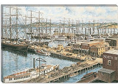 iCanvas ''The Vallejo St Wharf'' by Stanton Manolakas Painting Print on Canvas