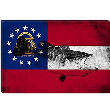 iCanvas Georgia Flag, Large Mouth Bass Grunge Graphic Art on Canvas; 26'' H x 40'' W x 0.75'' D