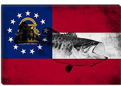iCanvas Georgia Flag, Large Mouth Bass Grunge Graphic Art on Canvas; 18'' H x 26'' W x 0.75'' D