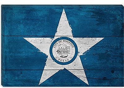 iCanvas Houston Flag, w/ Splatters Graphic Art on Canvas; 40'' H x 60'' W x 1.5'' D