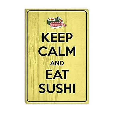 iCanvas Keep Calm and Eat Sushi Graphic Art on Canvas; 18'' H x 12'' W x 0.75'' D