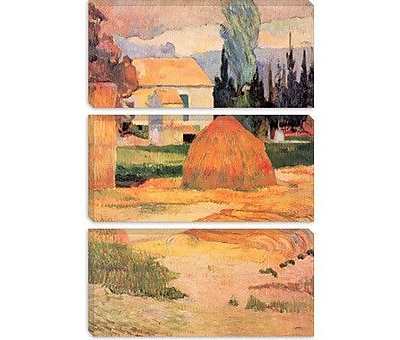 iCanvas 'Haystack in Village' by Paul Gauguin Painting Print on Canvas; 26'' H x 18'' W x 0.75'' D