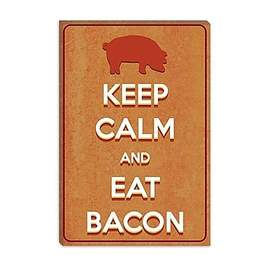iCanvas Keep Calm and Eat Bacon Graphic Art on Canvas; 12'' H x 8'' W x 0.75'' D