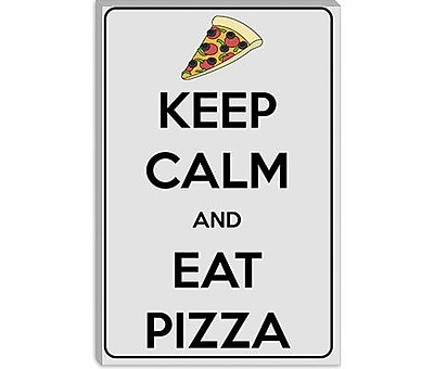 iCanvas Keep Calm and Eat Pizza Graphic Art on Canvas; 26'' H x 18'' W x 1.5'' D