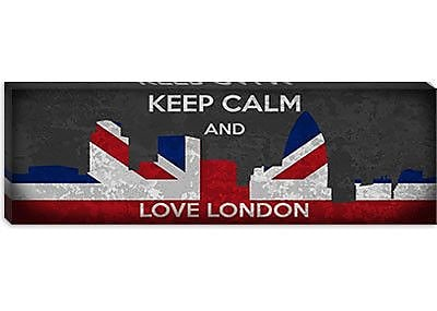 iCanvas Keep Calm and Love London Graphic Art on Canvas; 20'' H x 60'' W x 1.5'' D