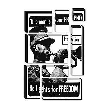 iCanvas He Fights for Freedom - Ethiopian - WWII Vintage Advertisement on Canvas
