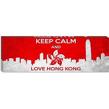 iCanvas Keep Calm and Love Hong Kong Graphic Art on Canvas; 30'' H x 90'' W x 1.5'' D