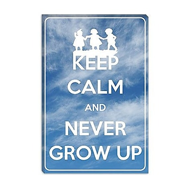 iCanvas Keep Calm and Never Grow up Graphic Art on Canvas; 18'' H x 12'' W x 1.5'' D