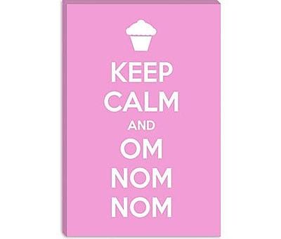 iCanvas Kitchen Keep Calm and Om Nom Nom Graphic Art on Canvas; 12'' H x 8'' W x 0.75'' D