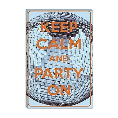 iCanvas Keep Calm and Party on Graphic Art on Canvas; 12'' H x 8'' W x 0.75'' D