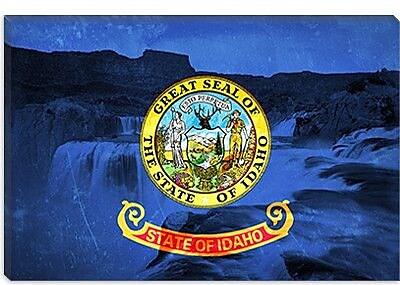 iCanvas Idaho Flag, Shoshone Falls Graphic Art on Canvas; 26'' H x 40'' W x 0.75'' D