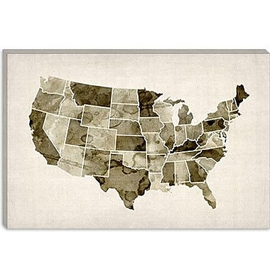 iCanvas 'Water Color Map II' by Michael Tompsett Graphic Art on Canvas; 12'' H x 18'' W x 1.5'' D