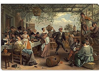 iCanvas 'The Dancing Couple' by Jan Steen Painting Print on Canvas; 18'' H x 26'' W x 0.75'' D