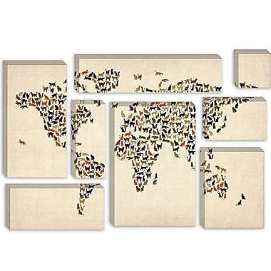 iCanvas 'Cats World Map II' by Michael Tompsett Graphic Art on Canvas; 12'' H x 18'' W x 0.75'' D
