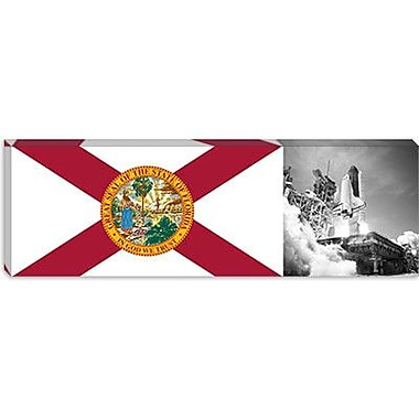 iCanvas Florida Flag, Space Shuttle Panoramic Graphic Art on Canvas; 12'' H x 36'' W x 1.5'' D