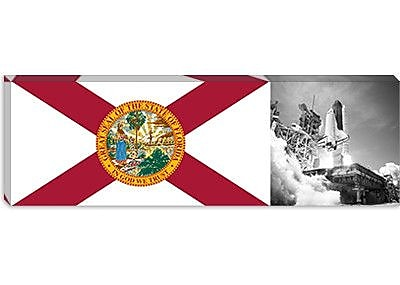 iCanvas Florida Flag, Space Shuttle Panoramic Graphic Art on Canvas; 16'' H x 48'' W x 1.5'' D