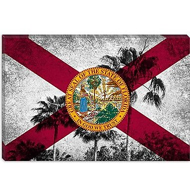 iCanvas Florida Flag, Grudge Palm Trees Graphic Art on Canvas; 26'' H x 40'' W x 1.5'' D