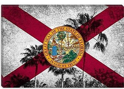 iCanvas Florida Flag, Grudge Palm Trees Graphic Art on Canvas; 40'' H x 60'' W x 1.5'' D
