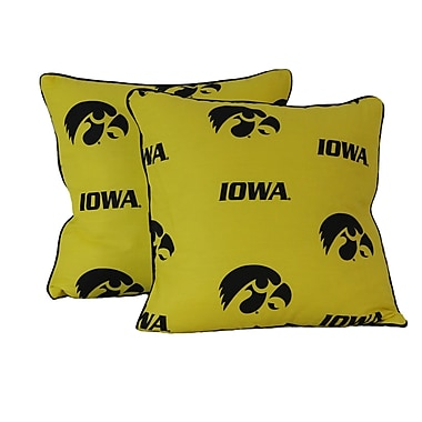 College Covers NCAA Lowa CottonThrow Pillow (Set of 2)