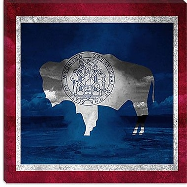 iCanvas Wyoming Flag, Old Faithful National Park Graphic Art on Canvas; 12'' H x 12'' W x 1.5'' D