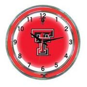 Wave 7 NCAA 18'' Team Neon Wall Clock; Texas Tech