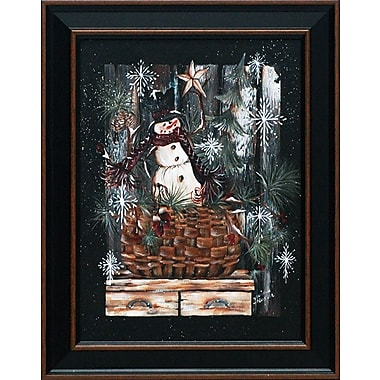 Artistic Reflections Snowman Basket by Michele Musser Framed Painting Print