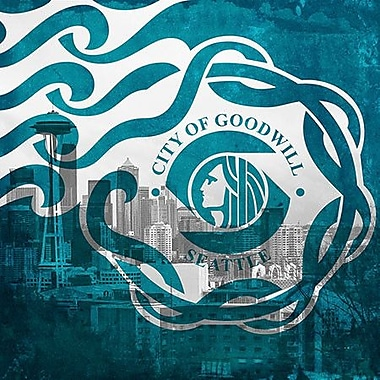 iCanvas Flags Seattle City Skyline w/ Grunge Graphic Art on Canvas; 37'' H x 37'' W x 0.75'' D