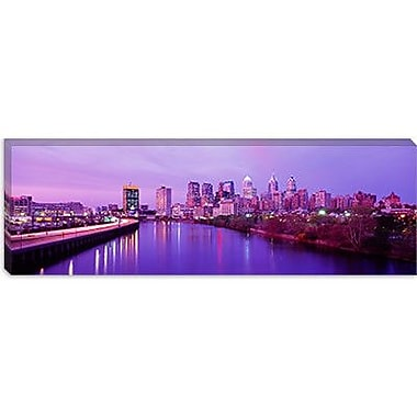 iCanvas Panoramic Twilight Philadelphia, Pennsylvania Photographic Print on Wrapped Canvas
