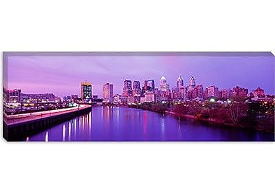 iCanvas Panoramic Twilight Philadelphia, Pennsylvania Photographic Print on Wrapped Canvas