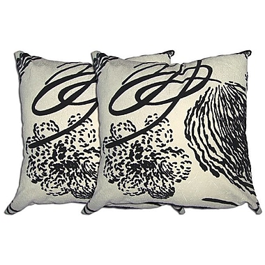 Acura Rugs Decorative Throw Pillow (Set of 2); Black / White