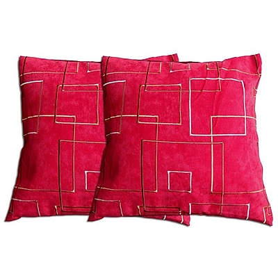 Acura Rugs Decorative Throw Pillow (Set of 2); Red