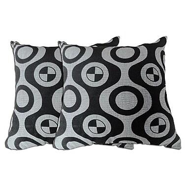 Acura Rugs Decorative Throw Pillow (Set of 2); Black / Grey