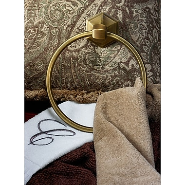 Alno Nicole Wall Mounted Towel Ring; Polished Brass