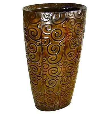 Cheungs Metal Vase w/ Swirl Design; 19.25'' H x 10.5'' W x 7' D