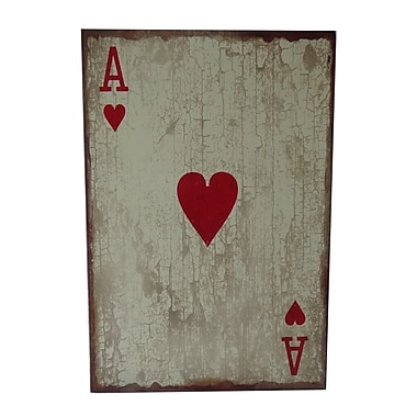 Cheungs Wooden Ace of Hearts Graphic Art Plaque