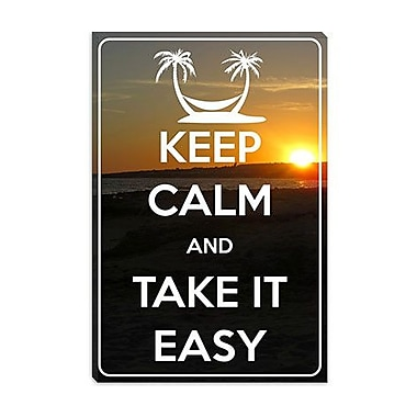 iCanvas Keep Calm and Take It Easy Graphic Art on Canvas; 18'' H x 12'' W x 0.75'' D