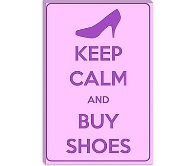 iCanvas Keep Calm and Buy Shoes Textual Art on Canvas; 40'' H x 26'' W x 1.5'' D