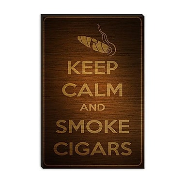 iCanvas Keep Calm and Smoke Cigars Graphic Art on Canvas; 18'' H x 12'' W x 1.5'' D