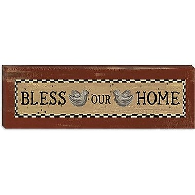 iCanvas 'Bless Our Home' by Erin Clark Textual Art on Canvas; 12'' H x 36'' W x 1.5'' D