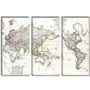 iCanvas Antique French Map of the World (1816) Graphic Art on Canvas; 8'' H x 12'' W x 0.75'' D