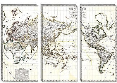 iCanvas Antique French Map of the World (1816) Graphic Art on Canvas; 26'' H x 40'' W x 0.75'' D