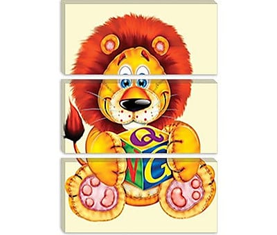 iCanvas Decorative 'Little Lion Holding a Square' by Alfredo Graphic Art on Canvas