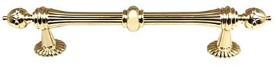 Alno Ornate 6'' Center Bar Pull; Polished Brass