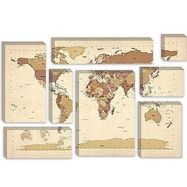iCanvas 'Map of The World V' by Michael Tompsett Graphic Art on Canvas; 8'' H x 12'' W x 0.75'' D