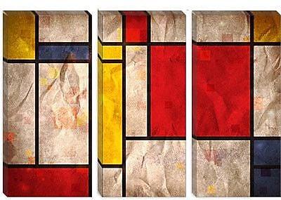 iCanvas 'Mondrian Inspired' by Michael Tompsett Graphic Art on Canvas; 12'' H x 18'' W x 0.75'' D